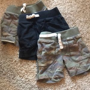 Carter's Lot of 3 Camo & Black 100% Cotton Shorts